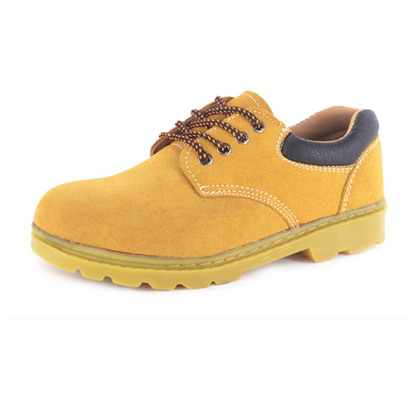 Fashion yellow microfiber good breathability safety shoe for workers
