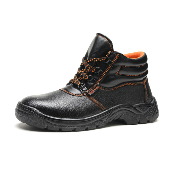 Good quality black microfiber with orange lining rubber sole safety shoe for oil production worker