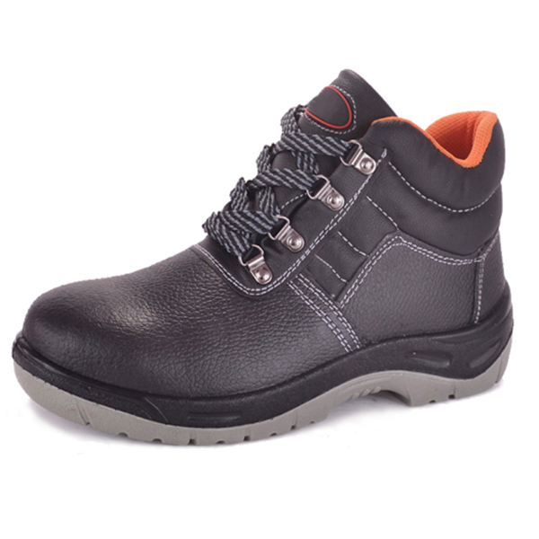High quality black cowleather orange lining with pu sole for construction field workers protection