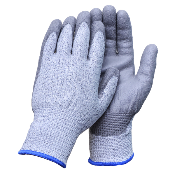 AC-5001Promotion Anti cut pu palm coating safety glove cut resistant level 5 gloves