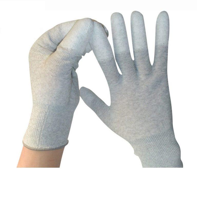 Carbon fiber nylon PU coated finger gloves C0504-W2