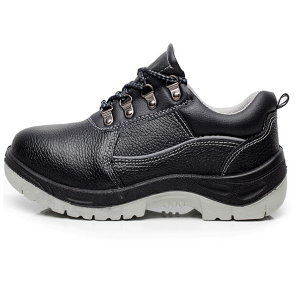 High quality litchi stria cow leather with pu sole safety shoe for multi-field workers protection