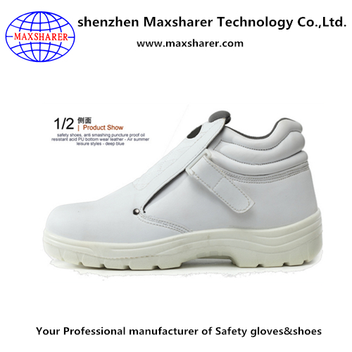 White cow leather safety shoe
