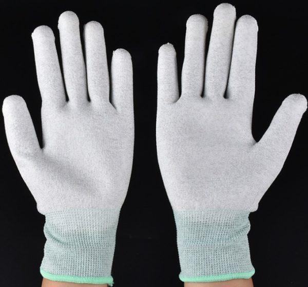 Carbon fiber nylon PU coated palm gloves C0504-01