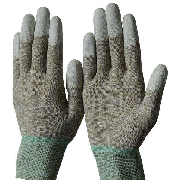 Copper fiber PU coated finger gloves C050C-F