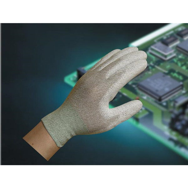 Copper fiber PU coated palm gloves C050C-P