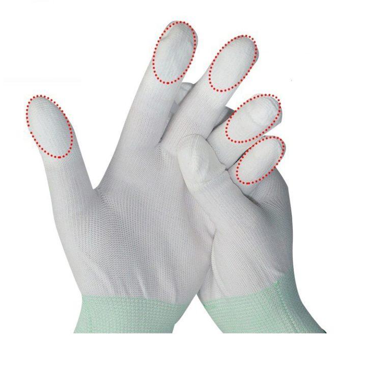 PU Recubierto de nylon dedo guantes de Seguridad c0500-2