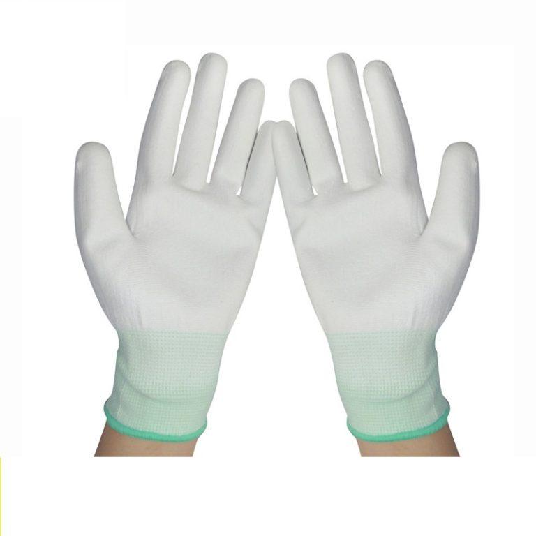 Guantes de nylon PU palma recubierta de fibra de carbono C0504-w1