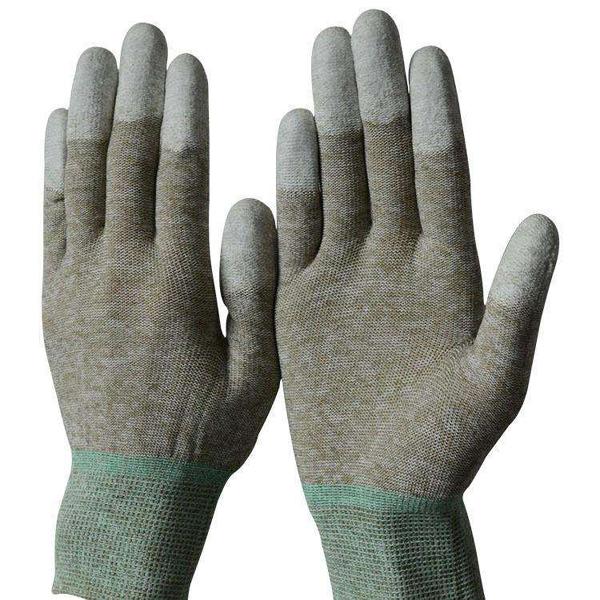Fibra de cobre revestido de PU guantes del dedo C050c-f